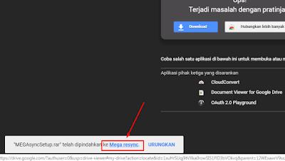 notifikasi sukses pindah ke google drive