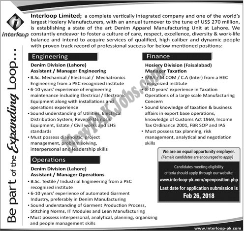New Interloop Limited Jobs in Lahore and  Faisalabad 2018