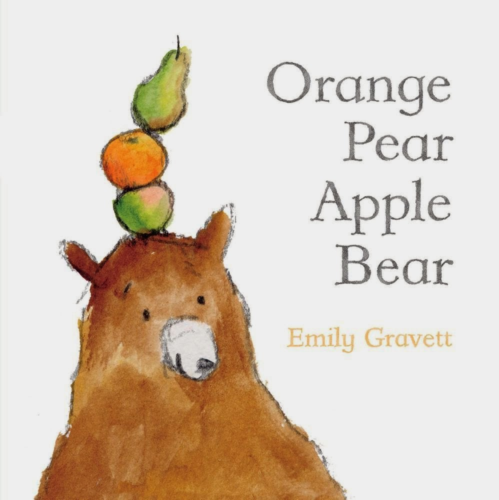 Orange Pear Apple Bear, part of children's book review list about fruit