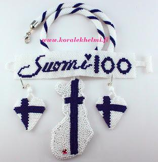 Suomi 100, korusetti, korujen tekeminen itse, käsintehdyt korut, Toho siemenhelmet, helmivirkkaus, virkattu koru, helmikirjonta, helmikauppa netissä,