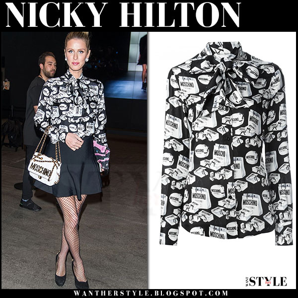Nicky Hilton in black and white printed Moschino blouse and black mini skirt new york fashion week front row