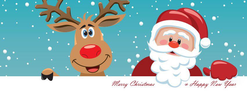 Santa Claus and Rudolf  facebook cover photo and Twitter Image