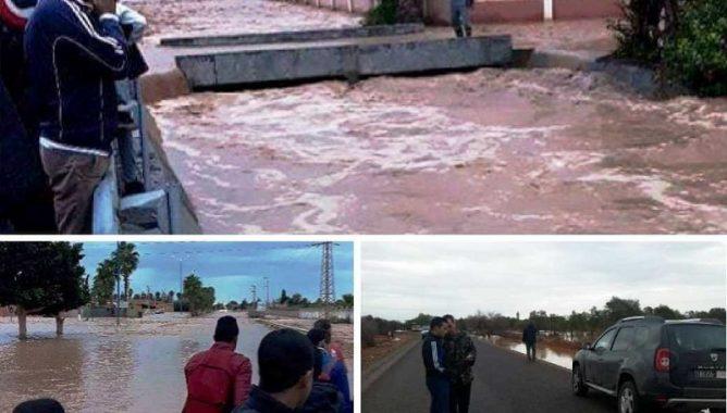 الفيضانات تجتاح أولاد داحو.. والسلطات تشكل خلية يقظة (فيديو وصور)