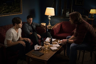 "Alexander Calvert as Jack, Jensen Ackles as Dean Winchester, Jared Padalecki as Sam Winchester in Supernatural 13x02 ""The Rising Son"""