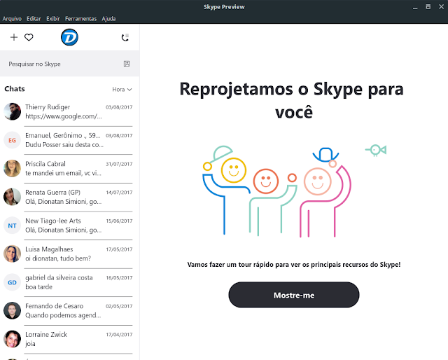 Nova interface do Skype