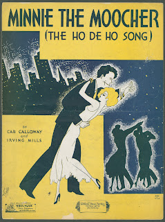 "A cover sheet for ""Minnie the Moocher (The Ho De Ho Song)."" The illustration shows a dancing couple in front of a nighttime cityscape, silhouetted dancers, and a yellow backdrop."