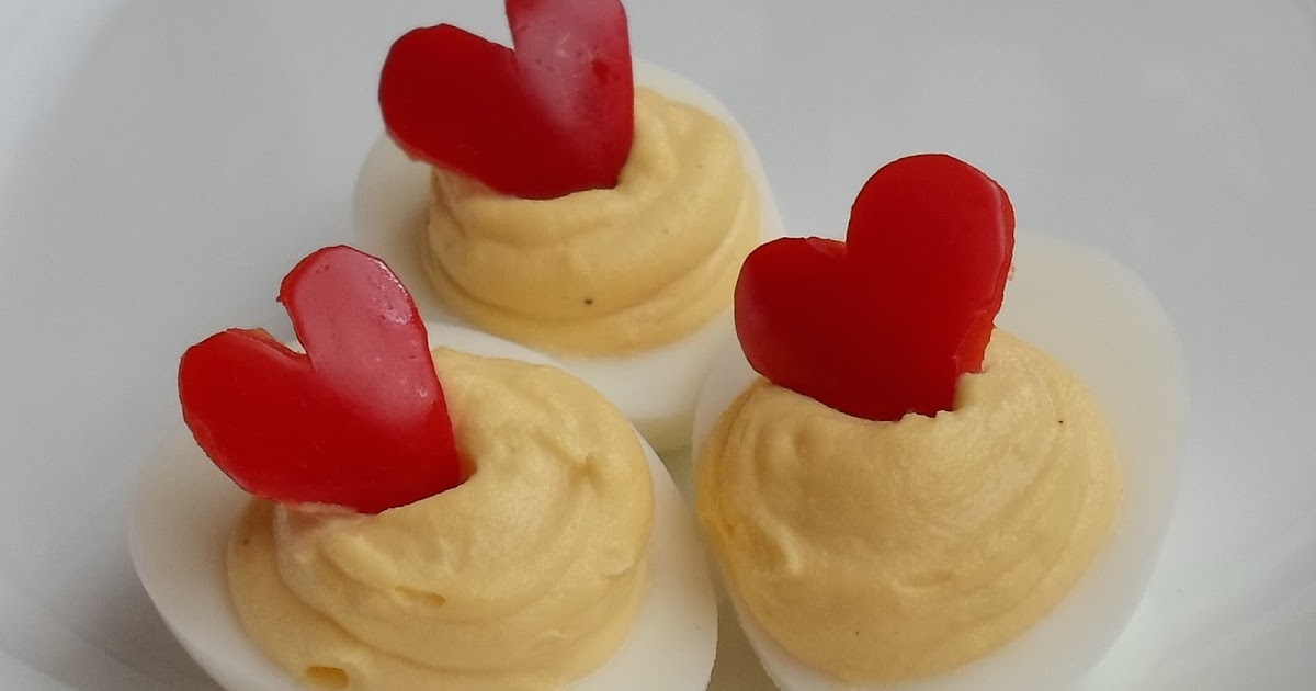 Happier Than A Pig In Mud: Red Bell Pepper Heart Deviled Eggs