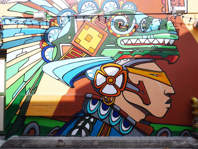 brightly colored street art in Singapore