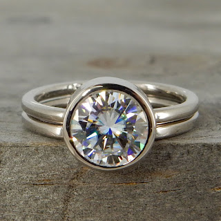 moissanite palladium engagement wedding ring