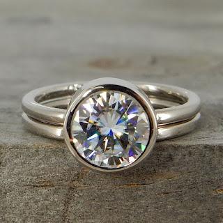 moissanite palladium engagement wedding ring
