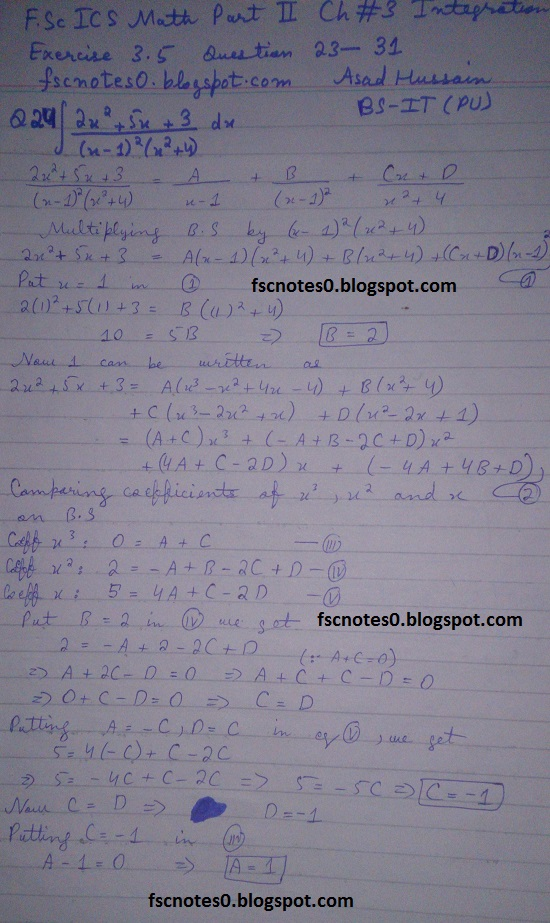 FSc ICS Notes Math Part 2 Chapter 3 Integration Exercise 3.5 question 23 - 31 by Asad Hussain