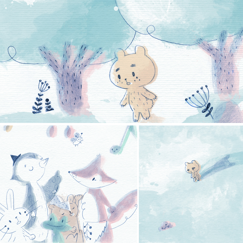 ujo y la música, tale, cuento, illustration, children, cute, bear, shy