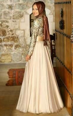 Model baju gaun muslim modern brokat terbaru