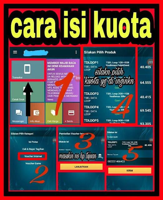 cara mengisi/menjual paket data kuota internet