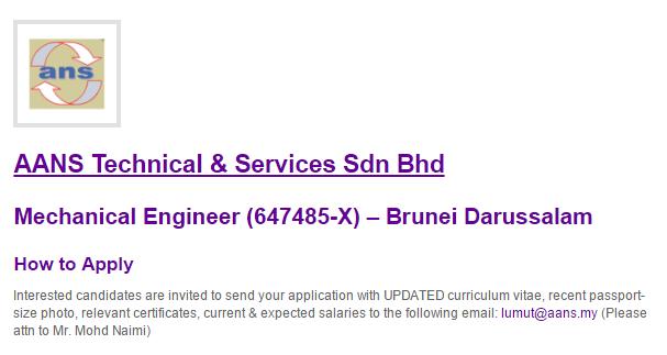 Oil &Gas Vacancies: Mechanical Engineer – Brunei Darussalam