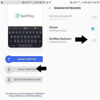Mengaktifkan keyboard swifkey