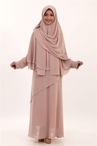 Trend model busana gamis syar'i casual muslimah terbaru untuk lebaran 2017/2018