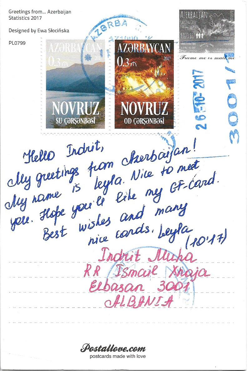 Postcard albania greetings from azerbaijan thanks to leyla kristyandbryce Gallery