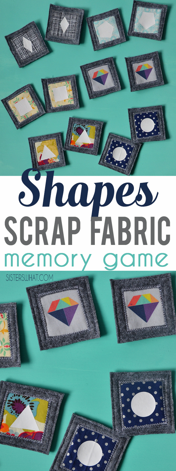 A fun DIY craft projects using fabric scraps and heat transfer vinyl to make a shapes memory game