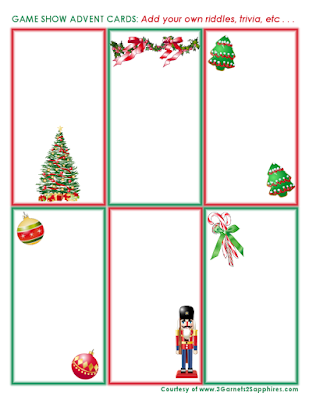 Free Printable Fun DIY Game Show Cards Advent Calendar Activity  |  3 Garnets & 2 Sapphires