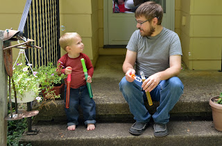 toddler and uncle bubbles