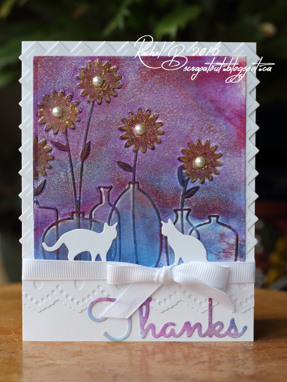 Scrapatout - Handmade card, Impression Obsession, Cats, Thanks, Flowers, Darice Floral Vases