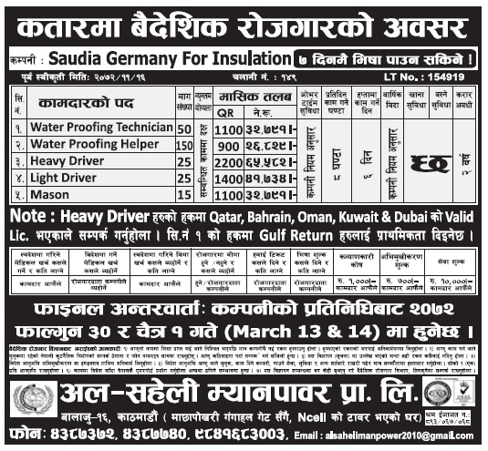 Jobs in Qatar for Nepali, Salary Rs 65,582
