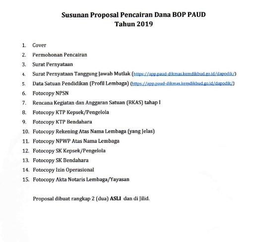 Susunan Proposal Pencairan Dana BOP PAUD Tahun 2019