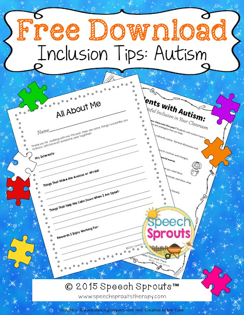 Autism Classroom inclusion strategies for teachers www.speechsproutstherapy.com