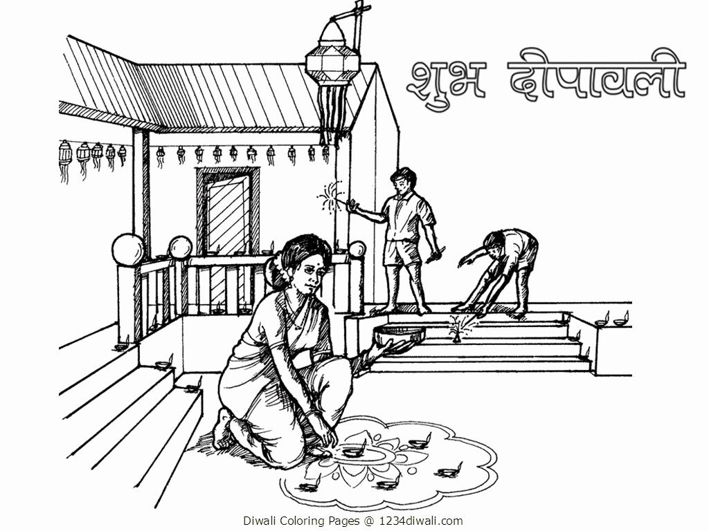 Colouring pages holi - Diwali Scene Pictures