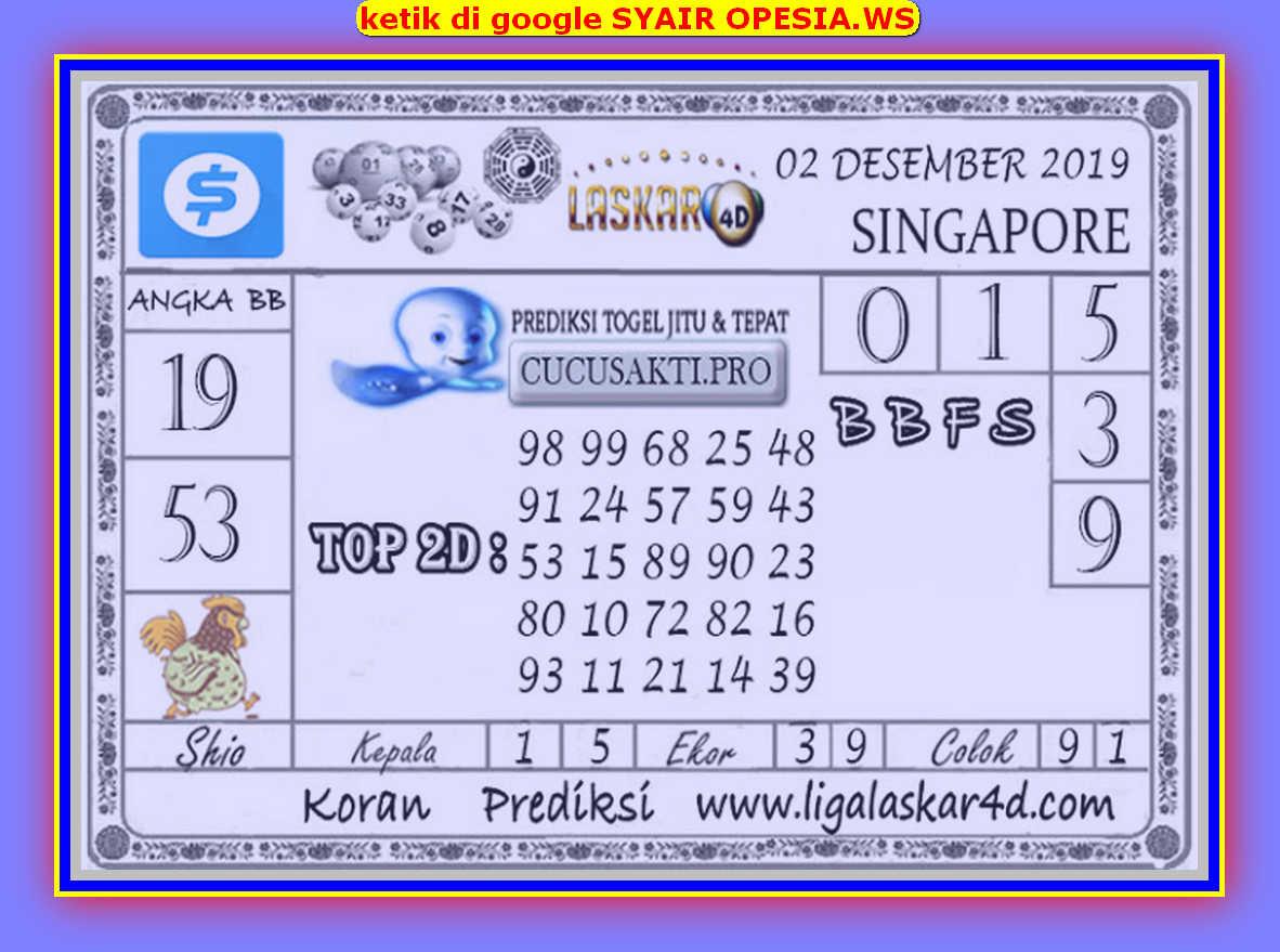 Kode syair Singapore Senin 2 Desember 2019 48