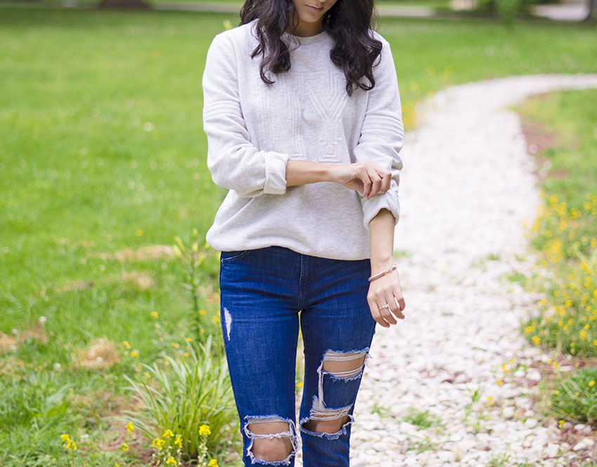 h&m sweatshirt ripped zara jeans madewell lace up sandals