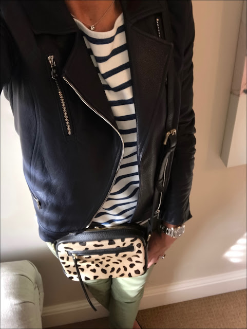 My Midlife Fashion, Massimo Dutti navy leather biker jacket, H&M breton top, zara distressed chinos, blue quilted ballet pumps, village england chelmorton jaguar across body bag