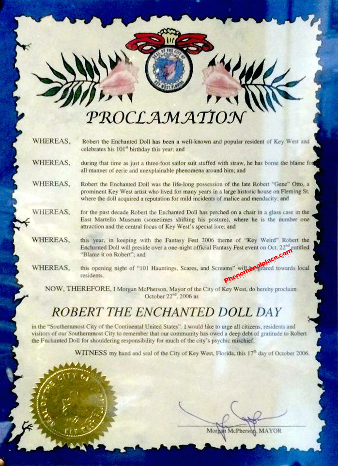 Letter Of Proclamation Robert The Enchanted Doll Day