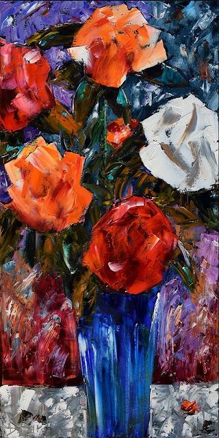 Roses Painting Floral Art Flowers Paintings Still Life by Debra Hurd