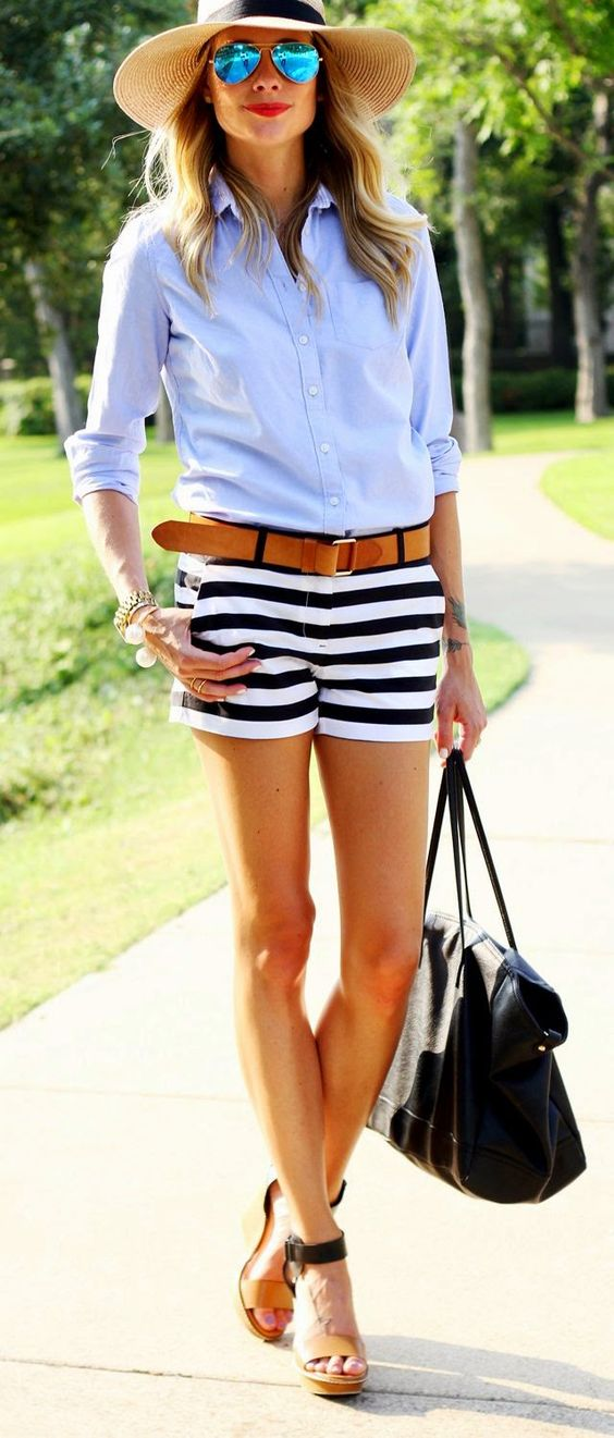 casual style perfection: hat + shirt + shorts