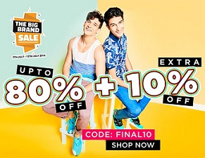 Jabong – Upto 80% Off + Extra 10% Off on Men's Clothing, Footwear & Accessories(No Minimum Purchase)