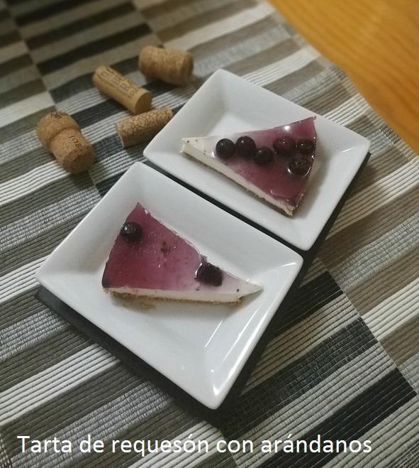 Tarta de requesón con arándanos