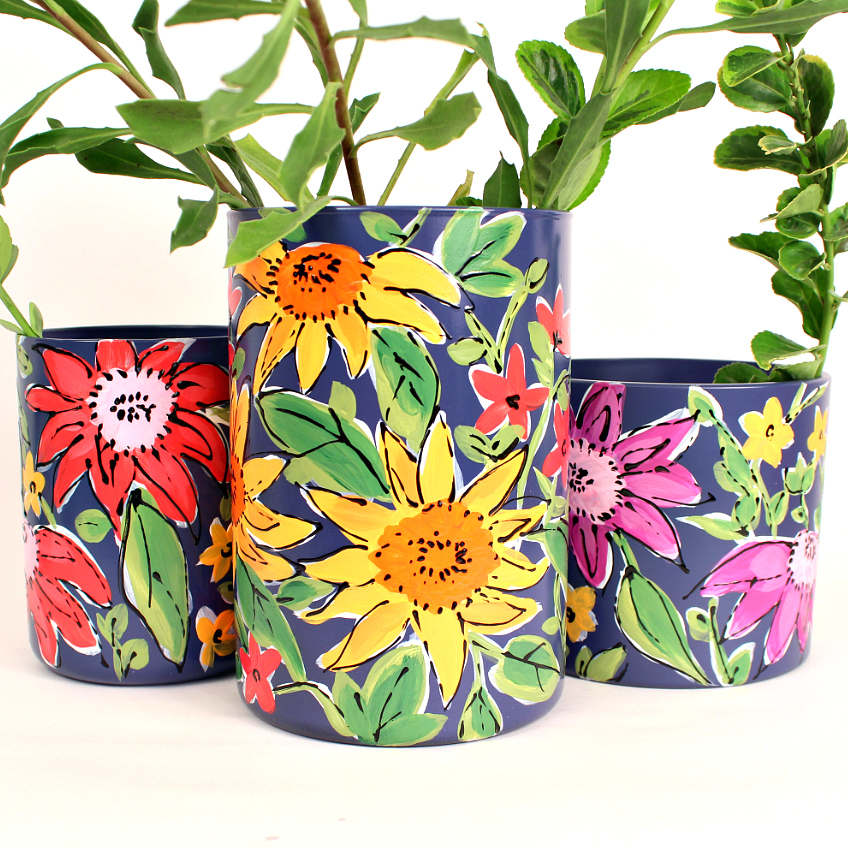 Mark Montano Floral Painted Vases Inspired By Vera