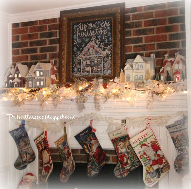 Priciallas- Christmas  Mantel-From My Front Porch To Yours- Treasure Hunt Thursday