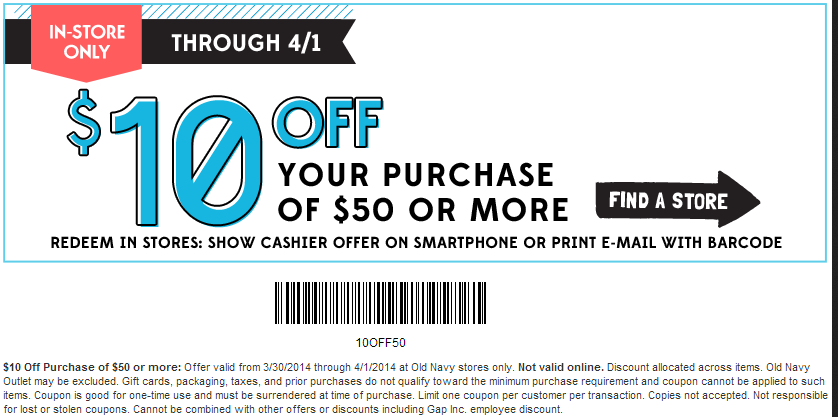 Old navy coupons printable 2019