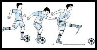 Teknik  menendang  bola  dengan  kurakura  kaki atau punggung kaki