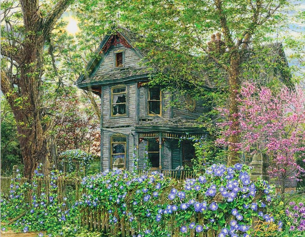 Im genes arte pinturas paisajes con casas antiguas for Casas modernas con puertas antiguas