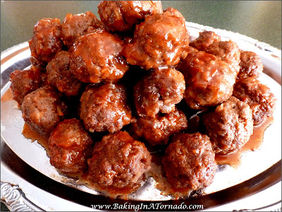 Fruited BBQ Meatballs, Crockpot or Stovetop | Recipe developed by www.BakingInATornado.com | #recipe #dinner #appetizer