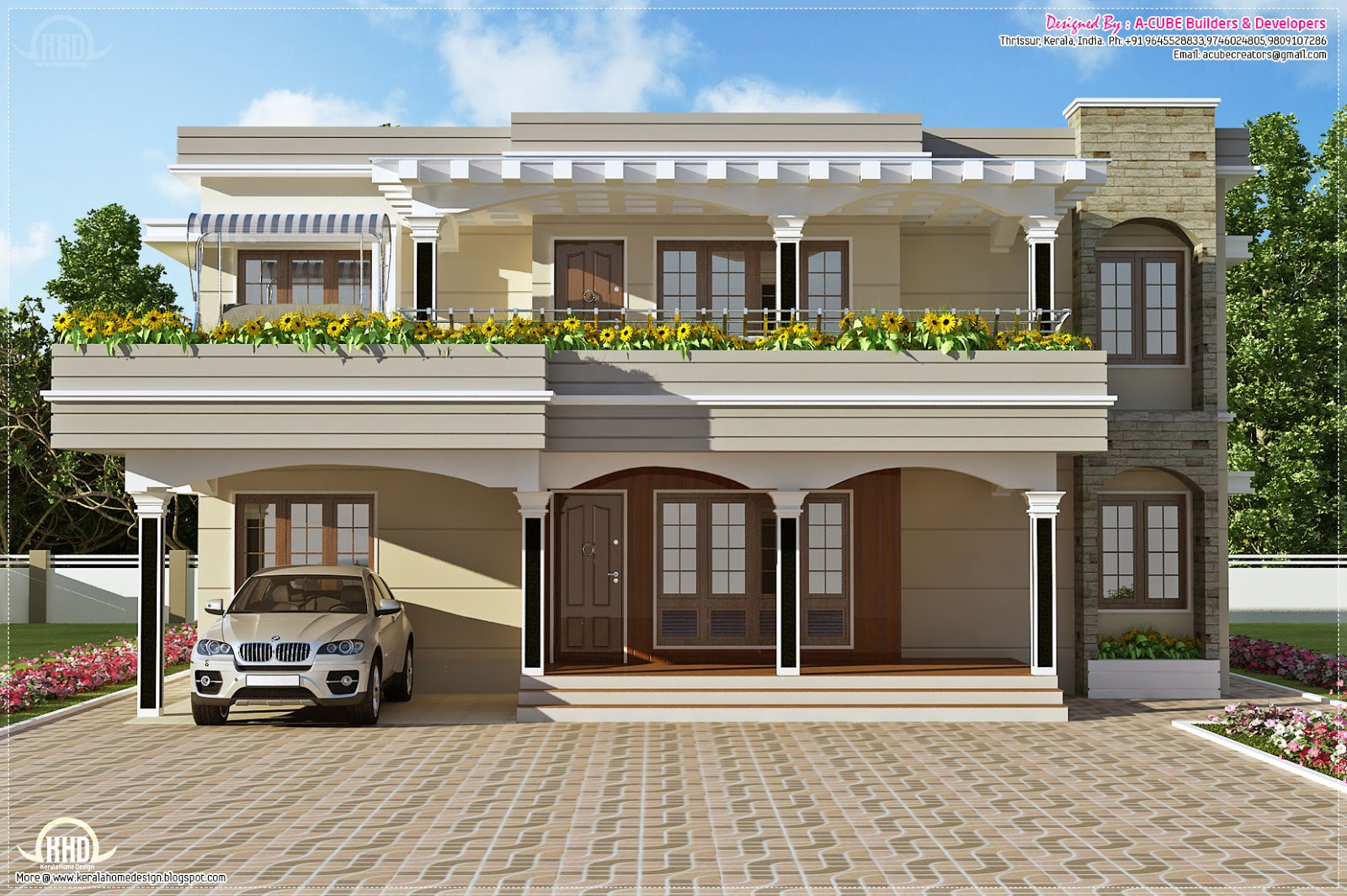 Modern flat roof villa in 2900 home kerala plans for Indian house photo gallery