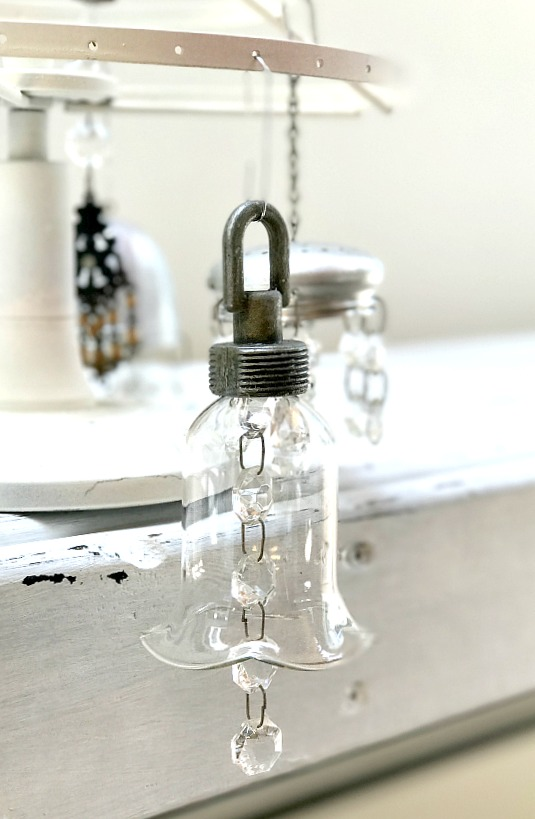 Chandelier bling repurposed Christmas ornaments