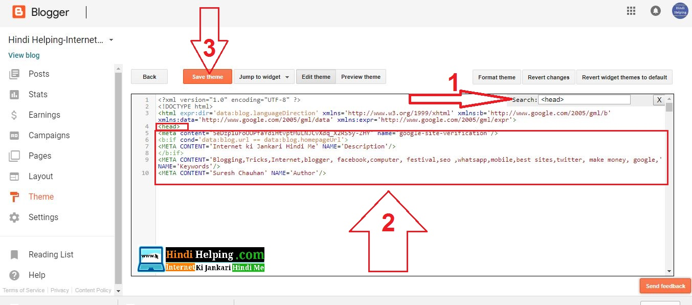 Blogger me meta tags description code kaise add kare hindi ab aapke blog ka template open ho chuka hoga ccuart Choice Image