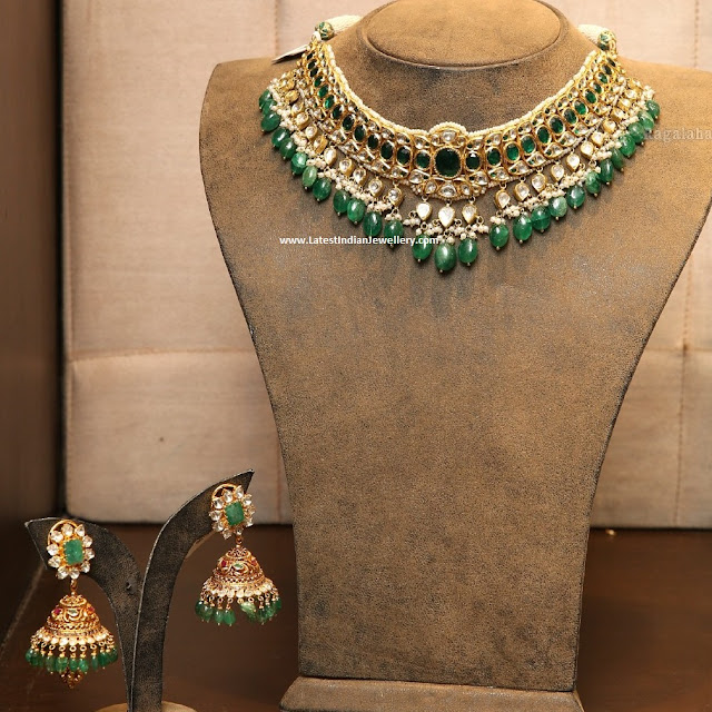 Jadau Emerald Necklace Jhumkas