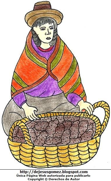 Dibujo de una campesina para dibujar a colores y para niños  (Mujer campesina de la sierra con su canasta de papas). Dibujo de campesina hecho por Jesus Gómez