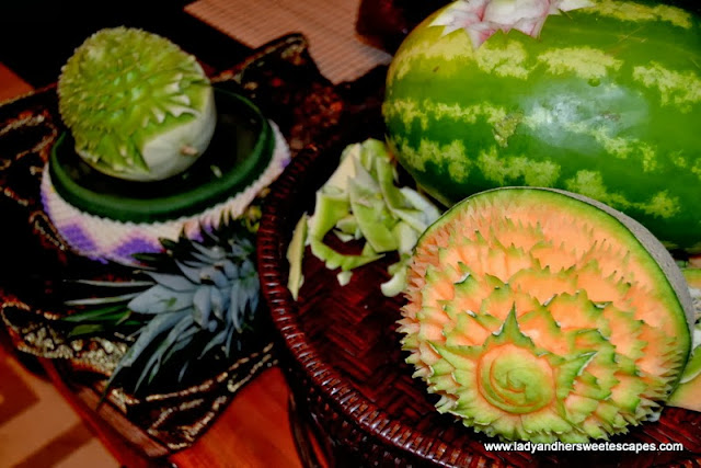 flower carvings in melons